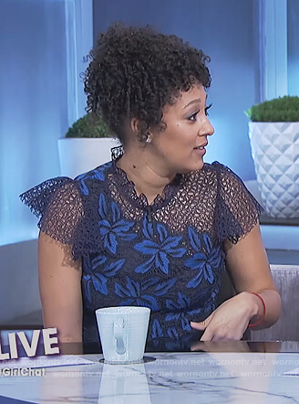 Tamera's blue floral lace top on The Real