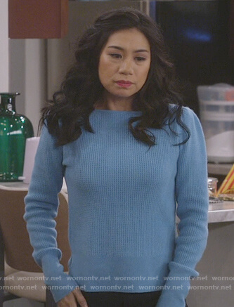 Eve's blue textured sweater on 9JKL