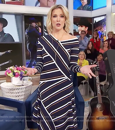 Megyn's blue asymmetric striped dress on Megyn Kelly Today
