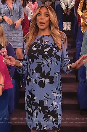 Wendy's blue floral print long sleeve dress on The Wendy Williams Show