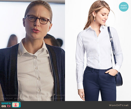 Brooks Brothers Tailored-Fit Stripe Stretch-Cotton Poplin Blouse worn by Melissa Benoist on Supergirl