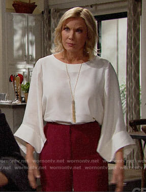 Brooke's white flared sleeve blouse on The Bold and the Beautiful
