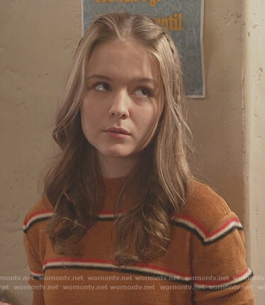 Taylor's brown striped short sleeve sweater on The Fosters