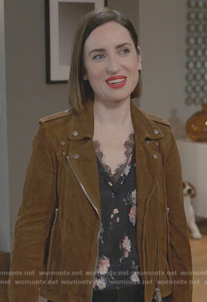 Jen's  brown suede moto jacket on Life in Pieces