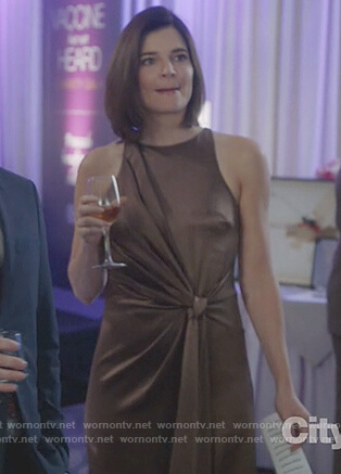 Heather's metallic brown tie knot dress on Life in Pieces