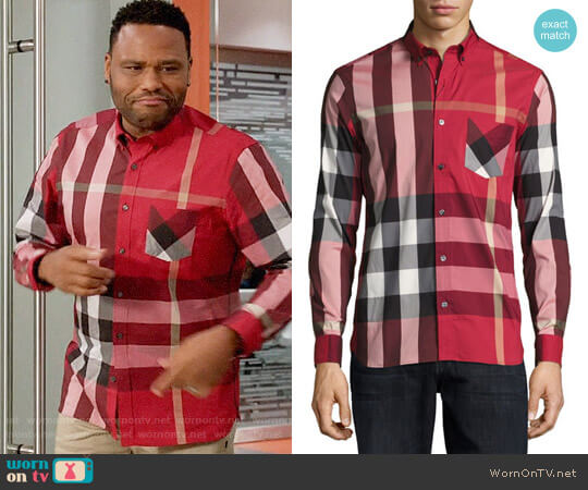 Burberry Thornaby Shirt in Red worn by Anthony Anderson on Blackish