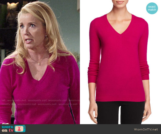 C by Bloomingdales Cashmere V-Neck Sweater worn by Melody Thomas-Scott on The Young & the Restless