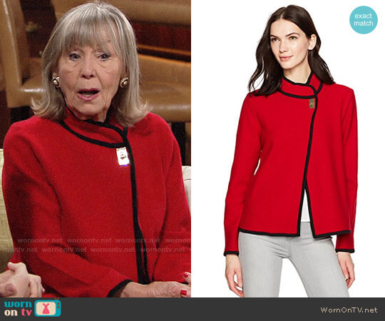 Calvin Klein Short Boiled Wool Jacket worn by Dina Mergeron (Marla Adams) on The Young & the Restless