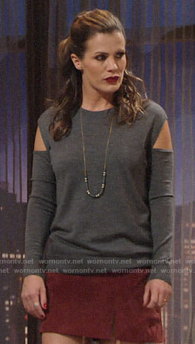 Chelsea's grey arm cutout sweater and red skirt on The Young and the Restless