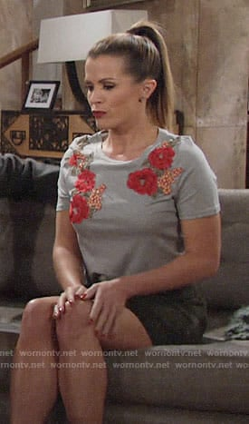 Chelsea's grey top with floral applique on The Young and the Restless