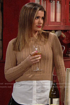 Chelsea's tan layered sweater on The Young and the Restless