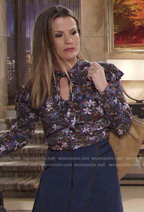 Chelsea's floral ruffled blouse on The Young and the Restless