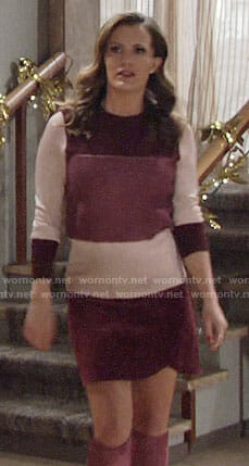 Chelsea's pink colorblock sweater, velvet skirt and pink boots on The Young and the Restless