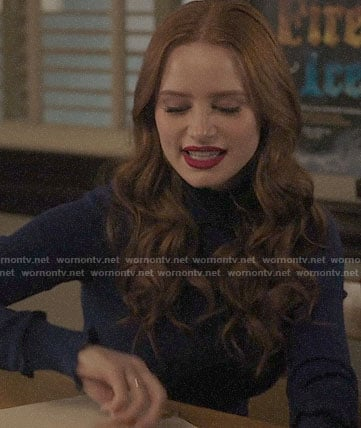 Cheryl's blue cropped ruffle trim sweater on Riverdale