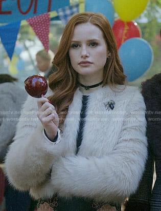 Cheryl's fur jacket and embellished leather skirt on Riverdale