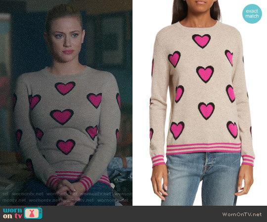 Chinti & Parker Heart Burst Cashmere Sweater worn by Betty Cooper (Lili Reinhart) on Riverdale