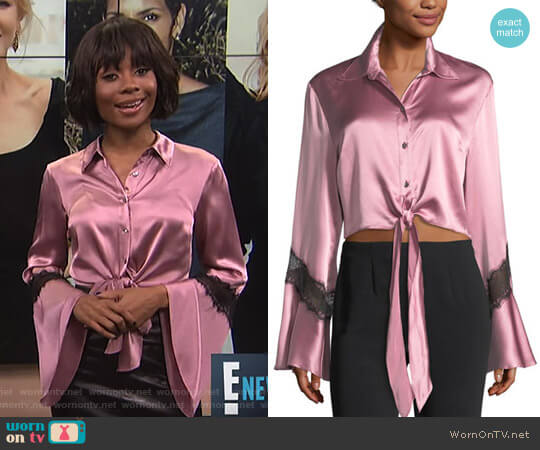Genevieve Button-Front Silk Satin Top with Lace by Cinq a Sept  worn by Zuri Hall on E! News
