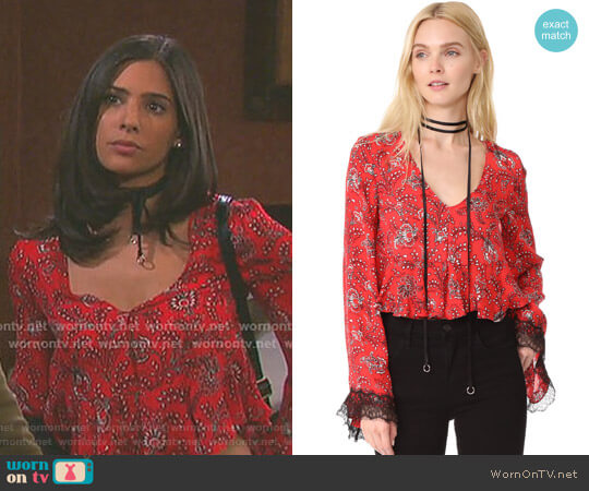 'Jemma' Top by Cinq a Sept worn by Gabi Hernandez (Camila Banus) on Days of our Lives