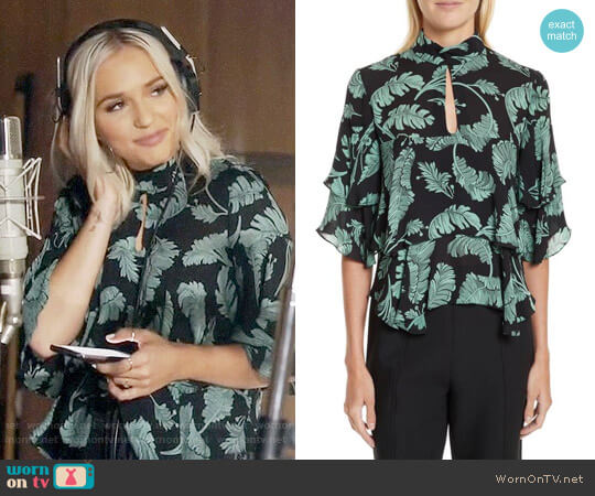 Cinq a Sept Ileana Palm Print Silk Top worn by Maddie Jaymes (Lennon Stella) on Nashville