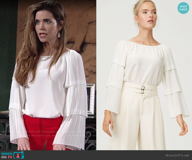 Club Monaco Truleen Top worn by Victoria Newman (Amelia Heinle) on The Young & the Restless