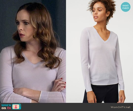 Club Monaco Agnes Tipped Sweater worn by Caitlin Snow (Danielle Panabaker) on The Flash