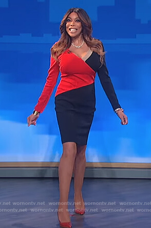 Wendy's red and black long sleeve dress on The Wendy Williams Show