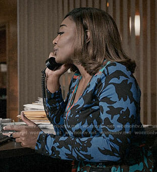 Daisy's blue floral wrap dress on Madam Secretary