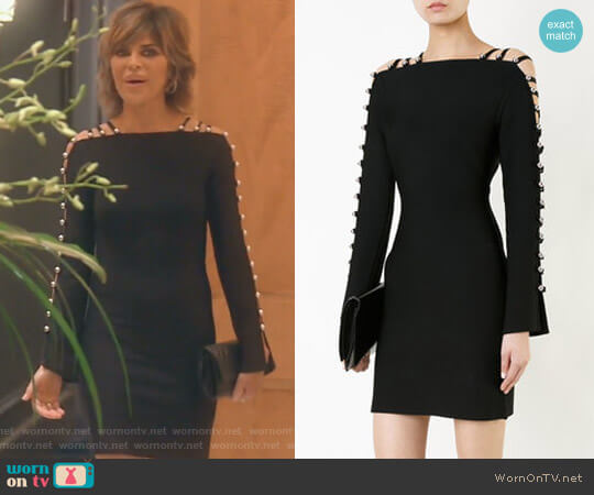 Strappy Sleeves Mini Dress by David Koma worn by Lisa Rinna on The Real Housewives of Beverly Hills