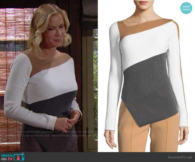 Diane von Furstenberg Colorblock Asymmetrical Top worn by Brooke Logan (Katherine Kelly Lang) on The Bold & the Beautiful