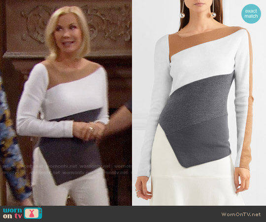 Diane von Furstenberg Asymmetric color-block wool sweater worn by Katherine Kelly Lang on The Bold & the Beautiful