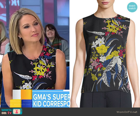 Floral-Print Silk Shell Top by Diane von Furstenberg worn by Amy Robach on Good Morning America