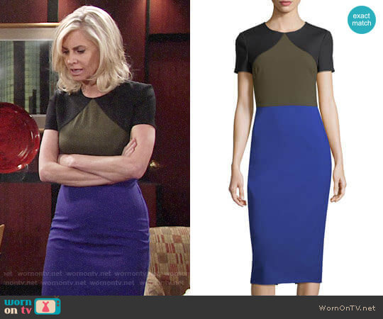 Diane von Furstenberg Colorblocked Tailored Midi Dress worn by Eileen Davidson on The Young & the Restless