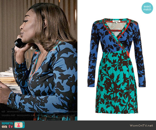 Diane von Furstenberg Brulon Foilage Print Wrap Dress worn by Daisy Grant (Patina Miller) on Madam Secretary