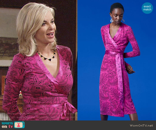 Diane von Furstenberg Cybil Dress in Ullman Ribbon Pink worn by Eileen Davidson on The Young & the Restless