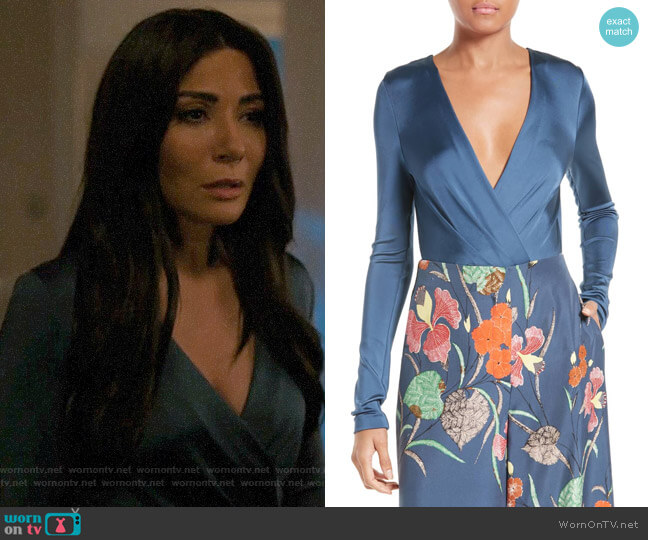 Diane von Furstenberg Lala Bodysuit worn by Hermione Lodge (Marisol Nichols) on Riverdale