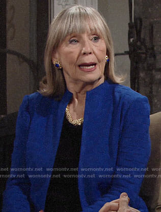 Dina's blue textured jacket on The Young and the Restless