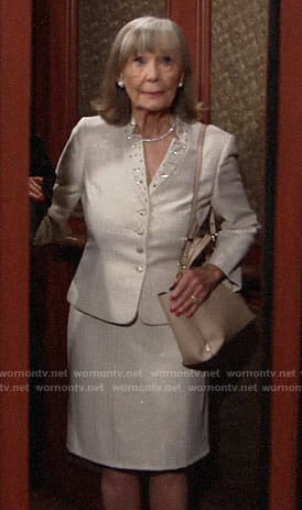 Dina's embellished collar skirt suit on The Young and the Restless