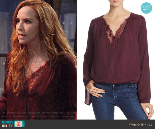 Do and Be Lace-Trim Crossover Top worn by Camryn Grimes on The Young & the Restless