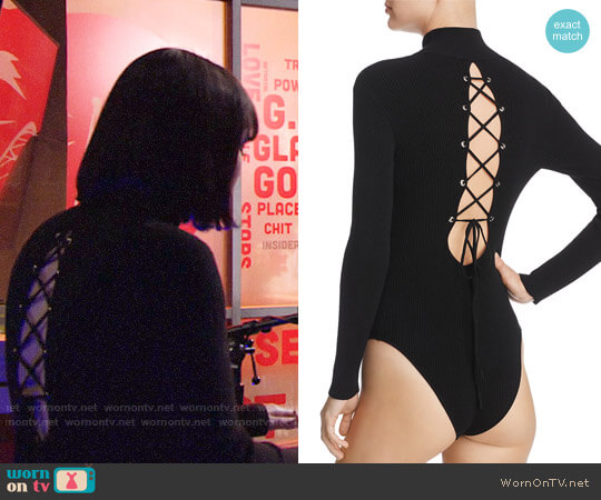 Do & Be Lace-Up Rib-Knit Bodysuit worn by Cait Fairbanks on The Young & the Restless