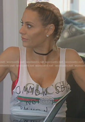 Dorit's white logo tank top on The Real Housewives of Beverly Hills