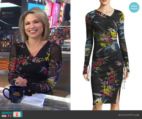 Floral-Print Ruched Dress by Diane von Furstenberg worn by Amy Robach on Good Morning America