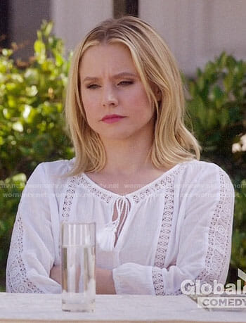 Eleanor's white peasant top on The Good Place
