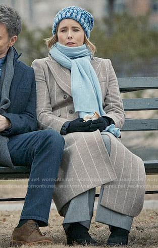 Elizabeth's long grey striped coat on Madam Secretary