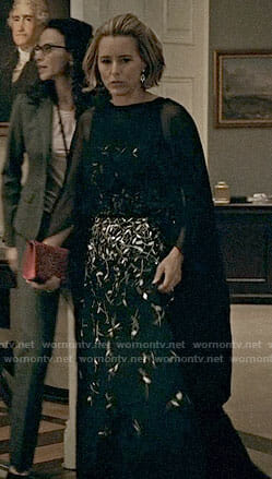 Elizabeth's black embellished gown on Madam Secretary