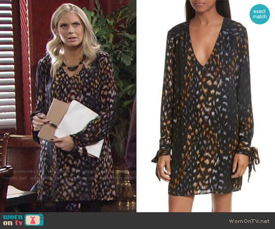 Equipment Bree Tie Sleeve Silk Shift Dress worn by Melissa Ordway on The Young & the Restless