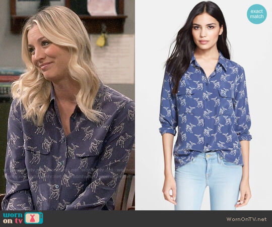 Equipment Slim Signature Fawn Print Shirt worn by Penny Hofstadter (Kaley Cuoco) on The Big Bang Theory