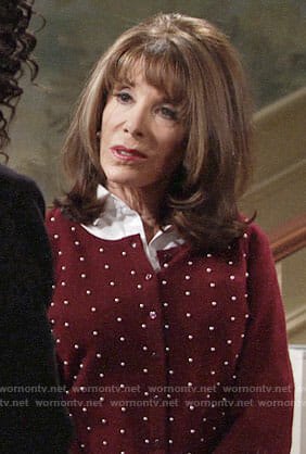 Esther's red pearl studded cardigan on The Young and the Restless