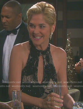 Eve's black embellished keyhole gown on Days of our Lives
