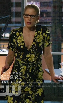 Felicity's black and yellow floral dress on Arrow