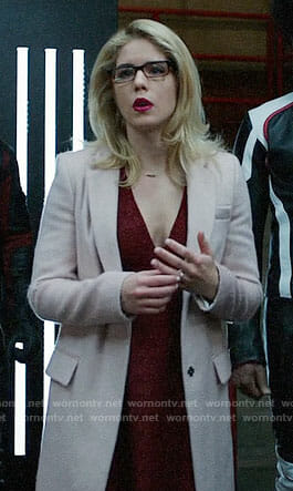 Felicity's pink furry coat on Arrow